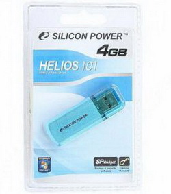 Флэш-карта SILICON POWER 4GB 101 BLUE HELIOS USB 2.0