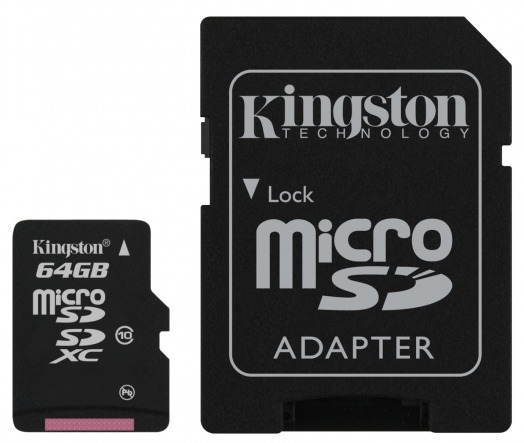 Карта памяти KINGSTON 64GB MICRO SDXC CLASS 10 + SD адаптер